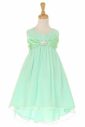 Knee-Length Bowed Empire Broach Chiffon&Satin Flower Girl Dress