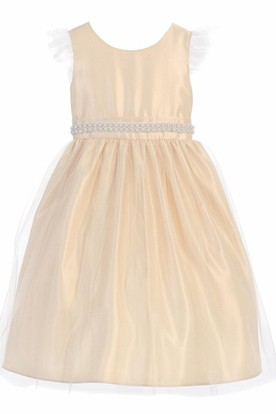 Tea-Length Beaded Tulle&Satin Flower Girl Dress