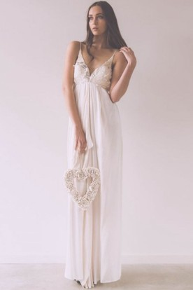 Maxi Sheath Floral Spaghetti Sleeveless Empire Chiffon Wedding Dress