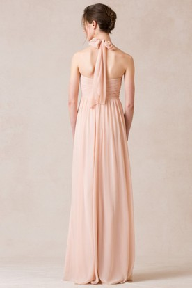 Sweetheart Criss-Cross Sleeveless Empire Chiffon Bridesmaid Dress With Straps