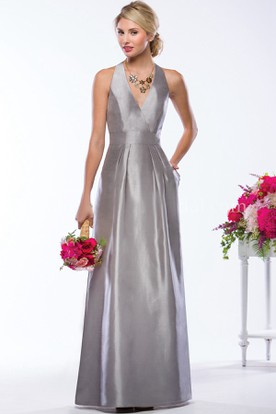 V-Neck Sleeveless A-Line Gown With Pockets And Keyhole Back