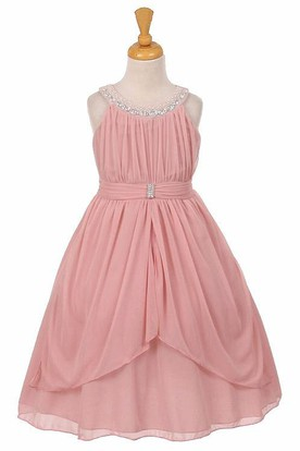 Peplum Tea-Length Pleated Tiered Chiffon&Tulle Flower Girl Dress With Ribbon