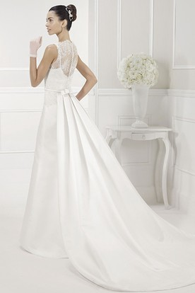 Lace Top Sheath Satin Bridal Gown With Bow Sash
