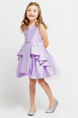 Split Knee-Length Split-Front Beaded Satin Flower Girl Dress With Sash
