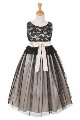 Tea-Length Sleeveless Tulle&Lace Flower Girl Dress