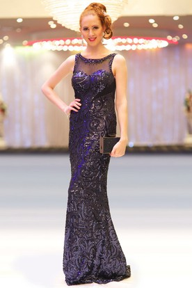 Sheath Scoop-Neck Sleeveless Floor-Length Beaded Sequins Prom Dress