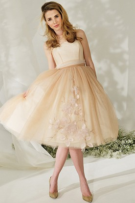 High Neck Tea-Length Floral Tulle Wedding Dress With Bow And Illusion