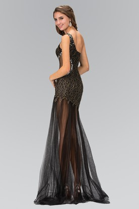 Sheath One-Shoulder Sleeveless Tulle Dress With Lace And Beading