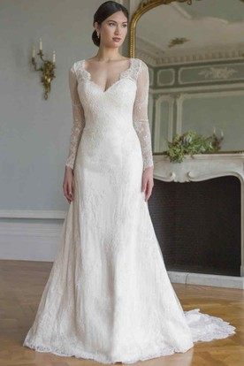 A-Line V-Neck Floor-Length Long-Sleeve Lace Wedding Dress With Illusion