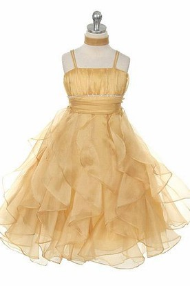Cape Ankle-Length Tiered Pleated Empire Organza Flower Girl Dress With Ribbon