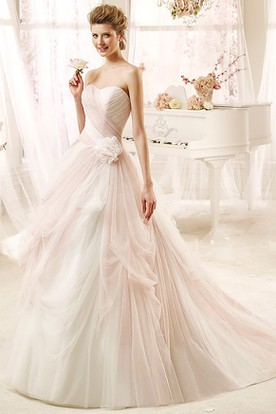 Romantic Strapless A-line Wedding Dress with Flowers and Pleated Bodice