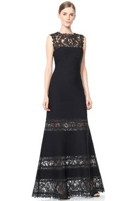 A-Line Jewel Floor-Length Lace Evening Dress With Illusion Back