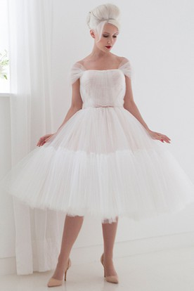 Tea-Length A-Line Off-The-Shoulder Cap Sleeve Ruched Tulle Wedding Dress