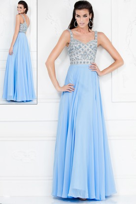 A-Line Sleeveless Chiffon Deep-V Back Dress With Pleats And Beading