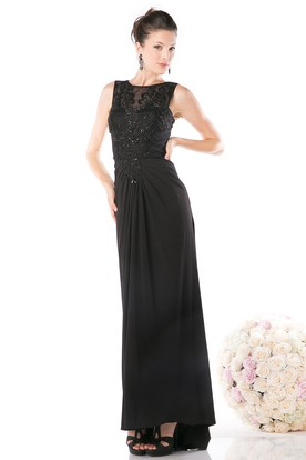 Sheath Long Scoop-Neck Sleeveless Chiffon Illusion Dress With Beading And Ruching