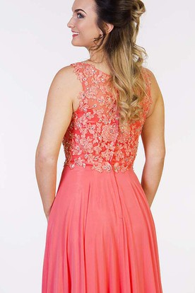 Floor-Length Sleeveless Beaded Scoop Chiffon Prom Dress With Pleats And Appliques