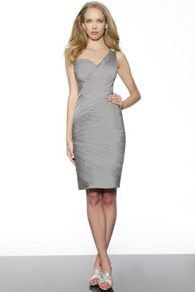 Pencil Mini Sleeveless Ruched One-Shoulder Satin Bridesmaid Dress With Epaulet