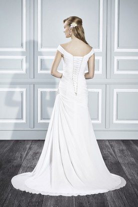 A-Line Floor-Length Off-The-Shoulder Side-Draped Wedding Dress With Beading And Corset Back