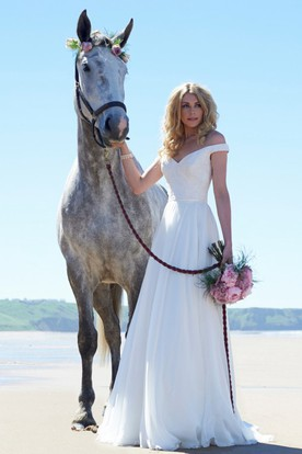 Long V-Neck Appliqued Chiffon Wedding Dress With Sweep Train And V Back