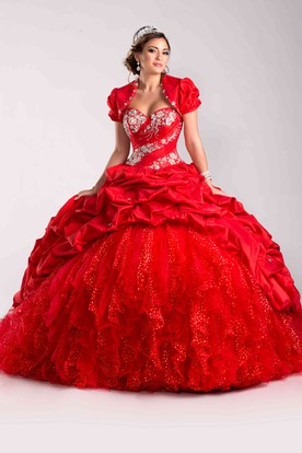 Sequin-Covered Lace-Up Back Ball Gown With A Matching Jacket