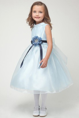 Tea-Length Floral Floral Organza&Satin Flower Girl Dress