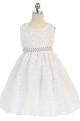 Tea-Length Tiered Beaded Sequins Flower Girl Dress