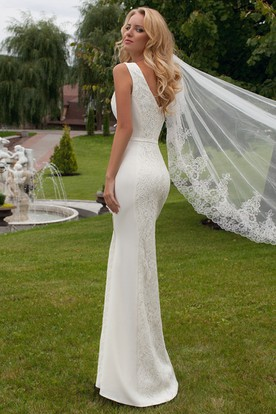 Floor-Length Jewel Lace Wedding Dress With V Back