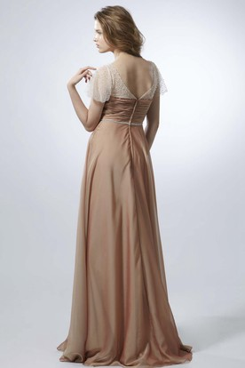 Maxi Criss-Cross Cap Sleeve Sweetheart Chiffon Prom Dress