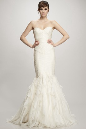 Mermaid Sweetheart Ruffled Organza Wedding Dress With Ruching And Zipper