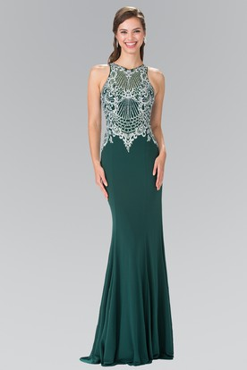 Sheath Long Jewel-Neck Sleeveless Jersey Zipper Dress With Beading And Sequins