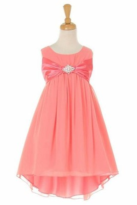 Midi Empire Bowed Broach Chiffon&Satin Flower Girl Dress