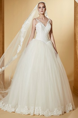 V-neck Puffy Wedding Gown with Lace Corset and Open Back