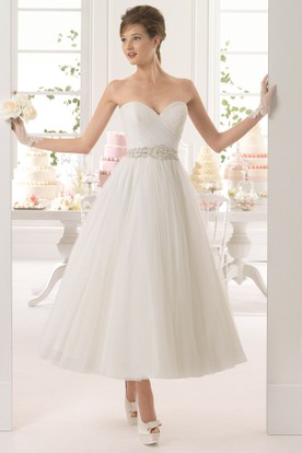 A-Line Tea-Length Sweetheart Jeweled Tulle Wedding Dress With Criss Cross