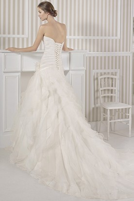 A-Line Maxi Sweetheart Beaded Organza Wedding Dress With Criss Cross And Flower