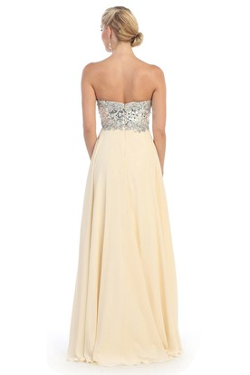 A-Line Sweetheart Sleeveless Chiffon Backless Dress With Sequins And Pleats