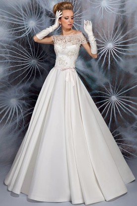 A-Line Maxi Appliqued Cap Sleeve Bateau Neck Satin Wedding Dress
