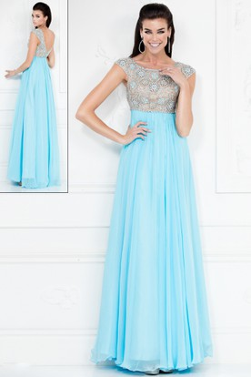 A-Line Scoop-Neck Cap Empire Chiffon Deep-V Back Dress With Beading And Pleats
