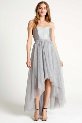 High-Low Strapless Ribboned Tulle Bridesmaid Dress With Pleats