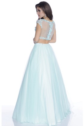 Crop Top A-Line Cap Sleeve Tulle Prom Dress Featuring Rhinestones And Lace Bodice