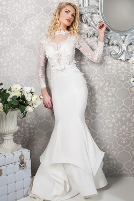 Mermaid Maxi Appliqued Long-Sleeve High-Neck Satin&Lace Wedding Dress