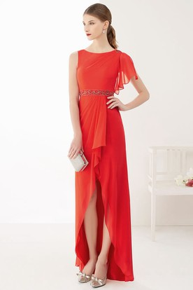 Side Drape Removable Sleeve High Low Chiffon Prom Dress With Front Split