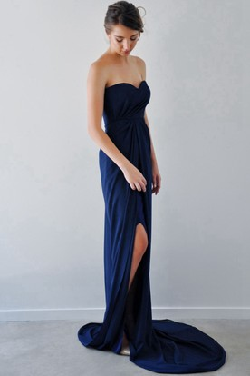 Sheath Sweetheart Sleeveless Floor-Length Side-Draped Chiffon Bridesmaid Dress With Side Draping