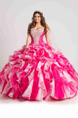 Lace-Up Back Sweetheart Ball Gown With Cascading Ruffles