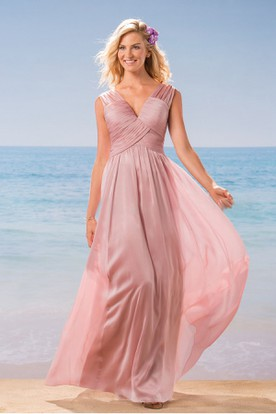 Sleeveless V-Neck A-Line Long Bridesmaid Dress With Pleats And V-Back