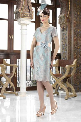 Knee-Length V-Neck Caped 3-4 Sleeve Satin Mother Of The Bride Dress With Bow