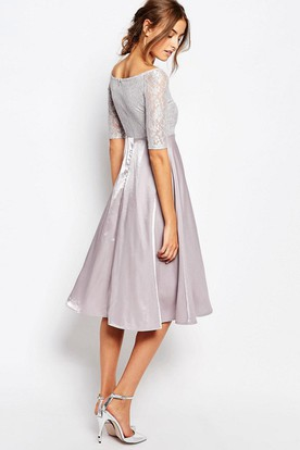 Knee-Length A-Line Bateau Neck Illusion Sleeve Taffeta Bridesmaid Dress