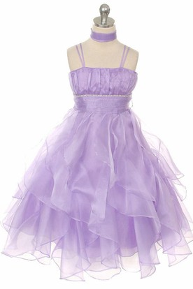Ankle-Length Cape Empire Tiered Pleated Organza Flower Girl Dress With Sash