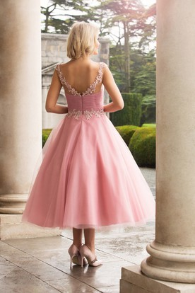 Tea-Length Appliqued Scoop Neck Cap Sleeve Tulle Bridesmaid Dress
