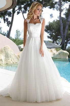 A-Line Queen Anne Tulle Wedding Dress With Illusion