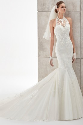 High-Neck Mermaid Wedding Dress with Illusive Neck and Backless Design